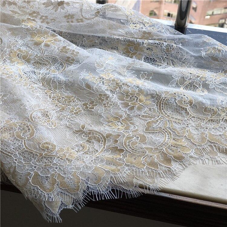 3 mètre/lot or mélangé blanc moelleux texture français cils dentelle tissu robe de mariée moelleux robe tissu - 4