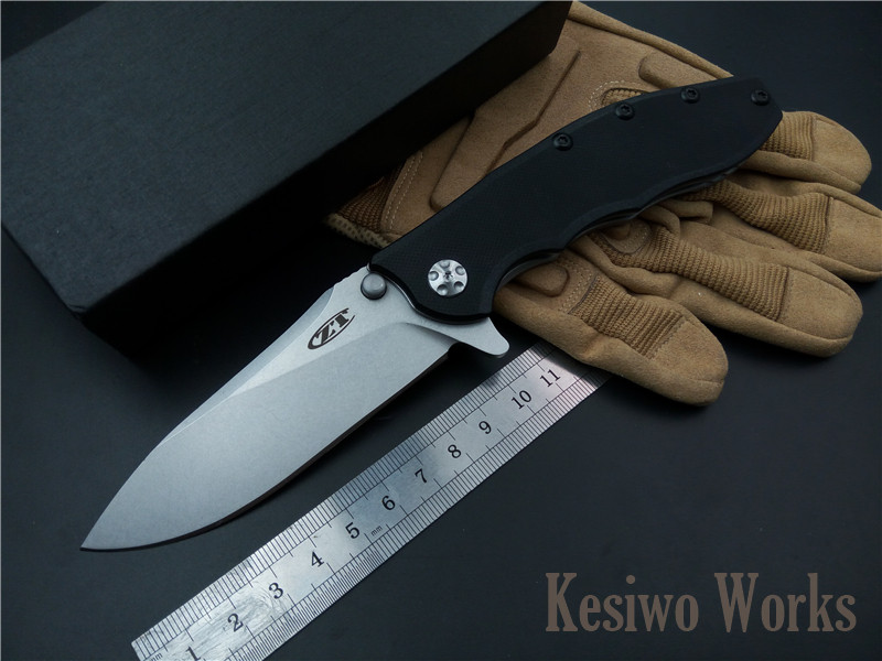 все цены на Tactical folding knife outdoor camping hunting survival pocket knife D2 blade G10 Steel handle knives EDC hand tools ZT0562 онлайн