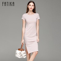 FATIKA Women Casual Summer Dress Short Sleeve O Neck Bodycon Dress Striped Side Split T Shirt