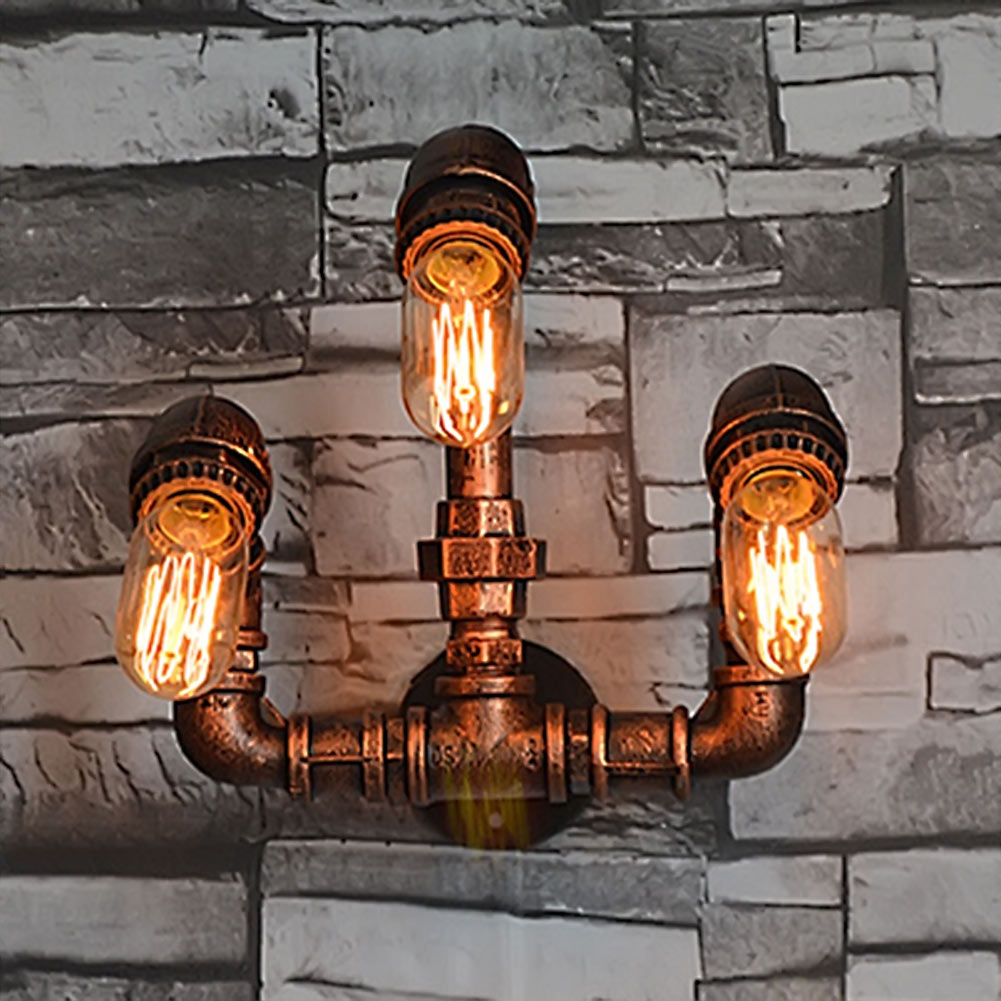 ФОТО Nordic Industrial Style 3 Heads Metal Water Pipe Wall Light American Country Loft Wall Lamp E27 Edison Vintage Bar Cafe Lustre
