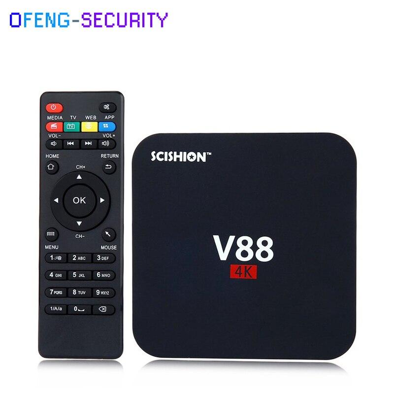 5pcs/lot LAndroid 6.0 Smart TV Box Conversor Smart Tv SCISHION V88 4K Rockchip 1G RAM 8G ROM Quad Core 4 USB WiFi Full Loaded