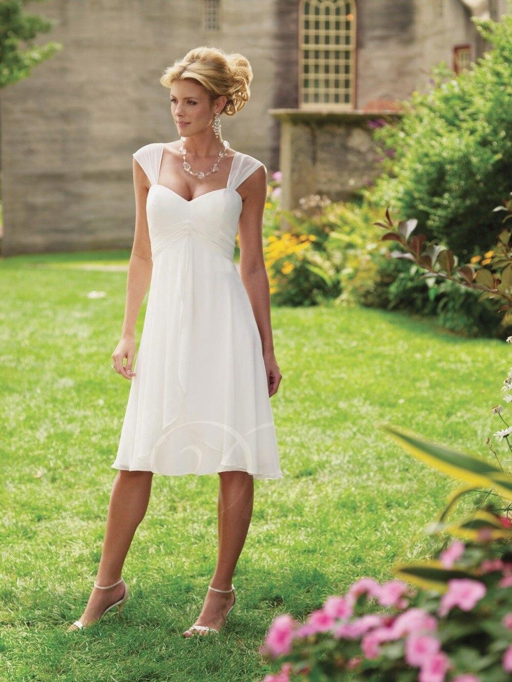 Charming Elegant Short Cap Sleeves White Chiffon Beach Tea Length ...