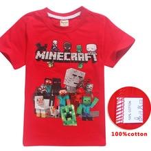 Vasaras karikatūra Minecraft T krekli Mana Pasaule Populārs Drukāt 100% Kokvilnas Tējas Īsas piedurknes Zēni Meitenes Top Kostīmu Bērnu Apģērbs