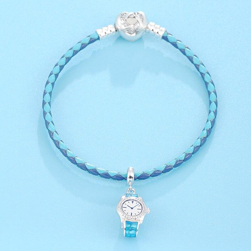 2018 bijoux d'été Original nouveau Design élégant bleu émulation montre Design pendentif 925 Bracelet en argent Sterling