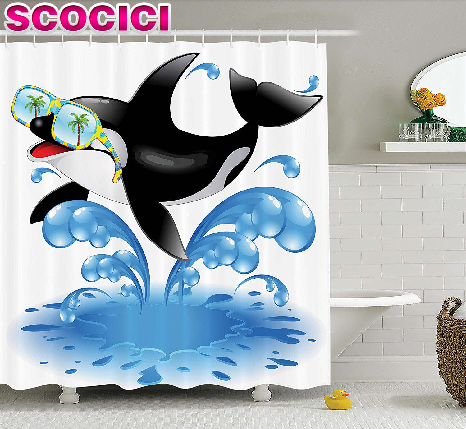 Funny Decor Shower Curtain Set Summer Holiday Ocean Cute Jumping Killer Whale With Sunglasses Cartoon Animal