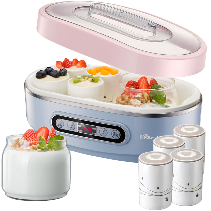 Bear Yogurt Machine Fully Automatic Glass Natto Ceramic Liner Yogurt Maker natto yogurt makers household fully automatic yogurt machine with glass liner timing rice wine machine 4 sub cup green