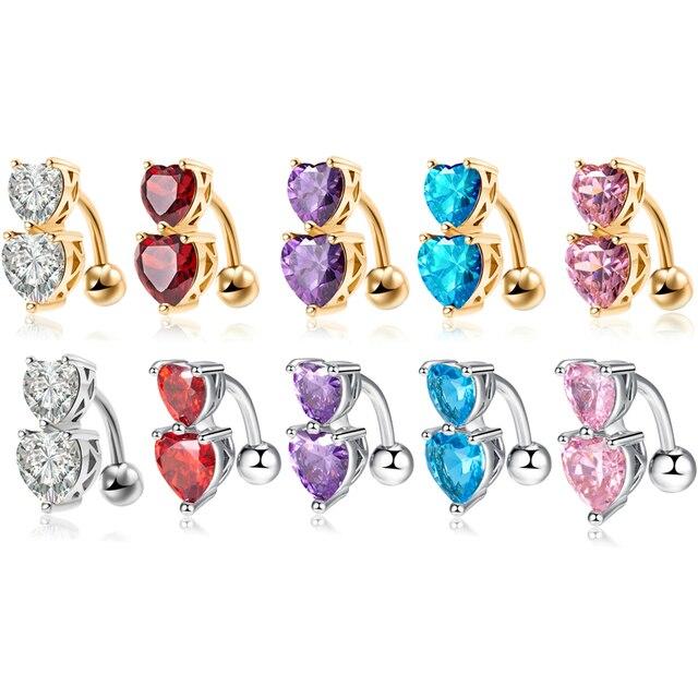 Модные кольца с двойным сердцем и пуговицами для живота aaa