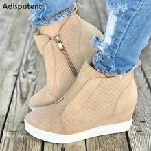 Aisputent/Коллекция года; кожаная женская обувь; Повседневная дышащая обувь, визуально увеличивающая рост; женские кроссовки на молнии; обувь на платформе для отдыха