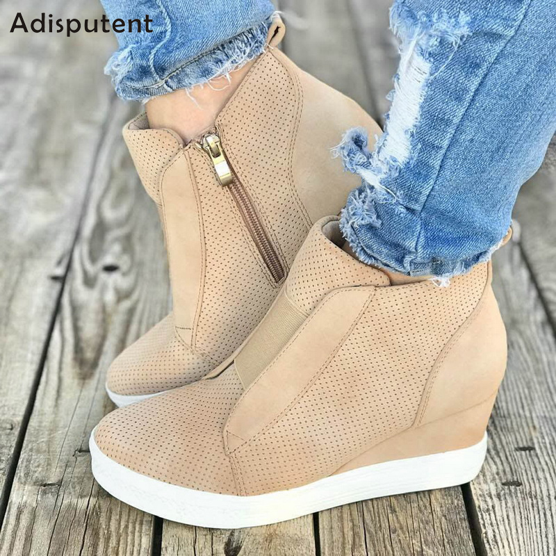 ADISPUTENT 2019 Leather Woman Shoes Casual Breathable Increasing Vulcanized Shoes Women Zipper Sneakers Leisure Platform Shoes