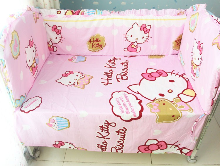 Promotion! 6PCS Hello Kitty Baby Bedding Set Bed Linen Cot Crib Bedding Set Cotton Baby Bedclothes (bumpers+sheet+pillow cover)