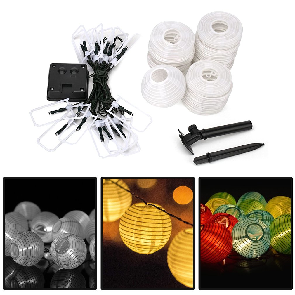 Solar Lighting Strings 20 LED Lantern String Lights IP65 Festival Indoor/Outdoor DIY Lighting Decoration