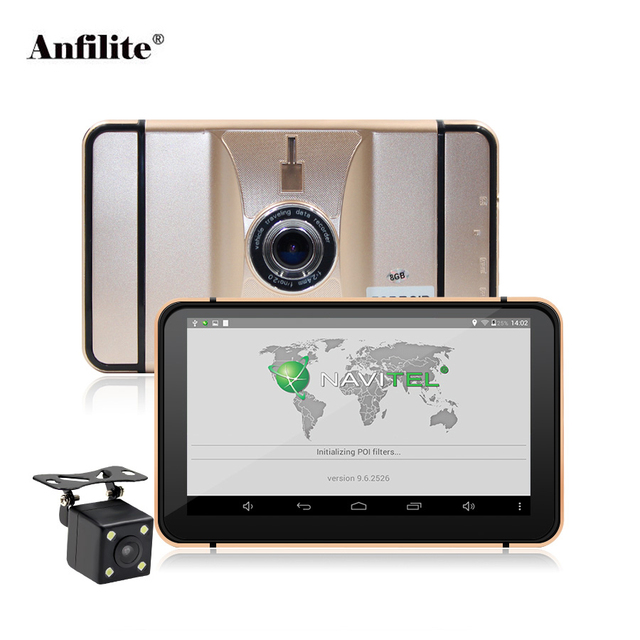 Anfilite 7 inch 1024*600 Android truck Navigation ddr3 512M rom 8GB with Rear camera 1920*1080P car dvr Vehicle gps Navigator