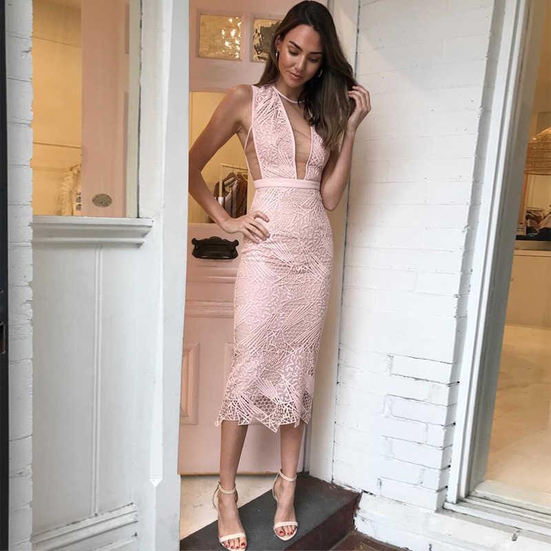 e97c9bb2 New Fashion Hot Selling Elegant Pink Bandage With Lace Dress Wedding  Bridesmaid Party Dress Vestido Wholesale
