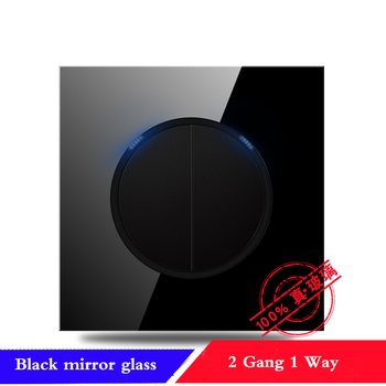 EU France Germany UK socket Full set of 86 type 1 2 3 4 gang 1 2way black mirror glass wall switch LED light switch Industry 15