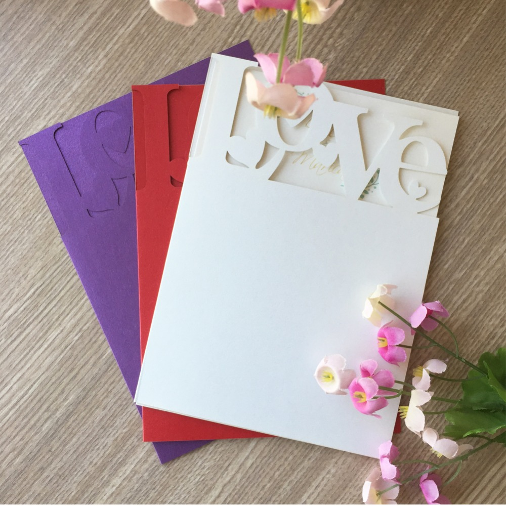 50 Sztuk Fioletowy Karty Rzeźbione Kwiat Miłość ślub Zaprosić Obiad