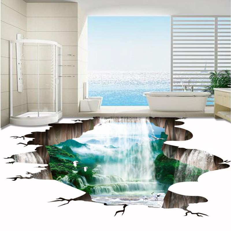 Free Shipping 3d Landscape Waterfall Welcoming Pine Thickened Bedroom Living Room Restaurant Bathroom Lobby Flooring Mural