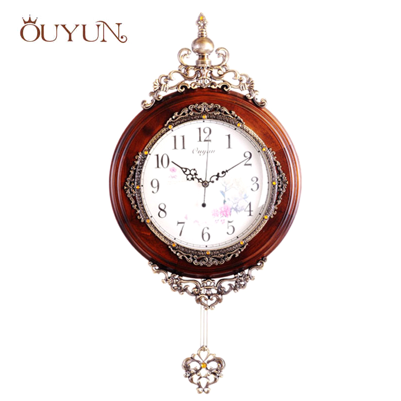 OUYUN European Antique Wooden Wall Clocks Pendulum Decor Silent - Home Decor
