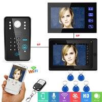 YobangSecurity 7inch Video Record WIFI Video Doorbell With 2xIndoor Monitor APP RFID Password APP Control Door