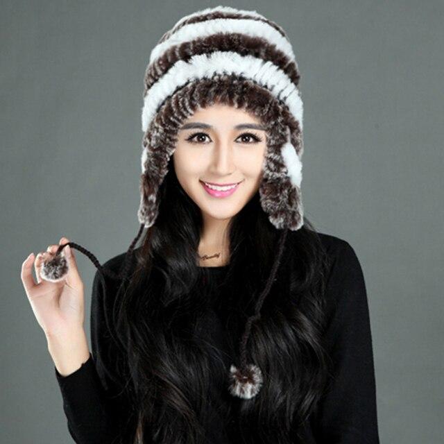 2015 Sombreros de Invierno Gorras Con Orejas de Las Mujeres Naturales de Punto piel de Conejo Rex Real Fur Bomber Sombrero Femenino YH073 Envío Gratis