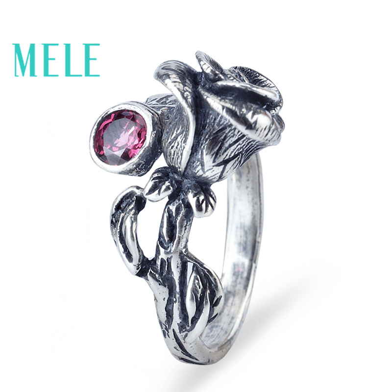 Natural Chinese Classical style silver 925 jewelry.Garnet Rose retro ring for women, Adjustable stereoscopic engraving,Glitterin retro style strapless rose and figure print corset for women