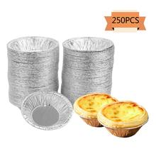 5 Aluminum 250 Pcs Disposable Egg Tart Tins Mini Pie Tins Pans Tinfoil Cupcake Circular Egg Tart Mold Cups for Baking Supplies sw ds01 pouring tinfoil sheets silver 10 pcs