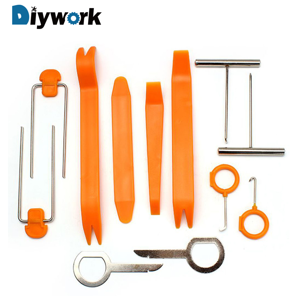 DIYWORK 12Pcs/Set Crowbar Refitting Automobile Dash Audio Stereo GPS Car Panel Removal Tools Installer Pry Repair Sets