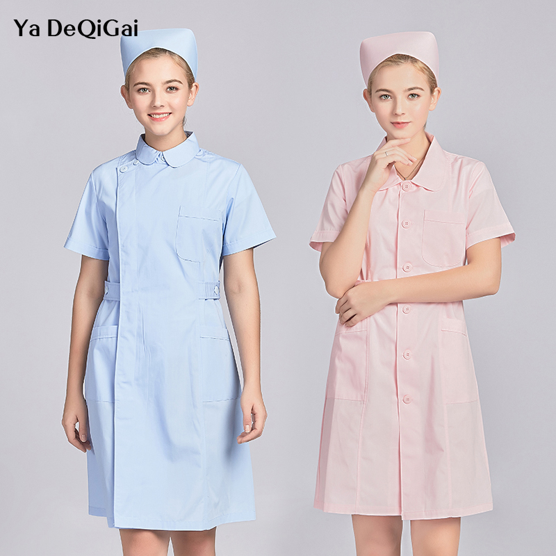 Short Sleeve Women Medical Shirt Medical White Coat Uniform Medical Lab Coat Hospital Doctor Slim Multiple Color  Nurse Medical
