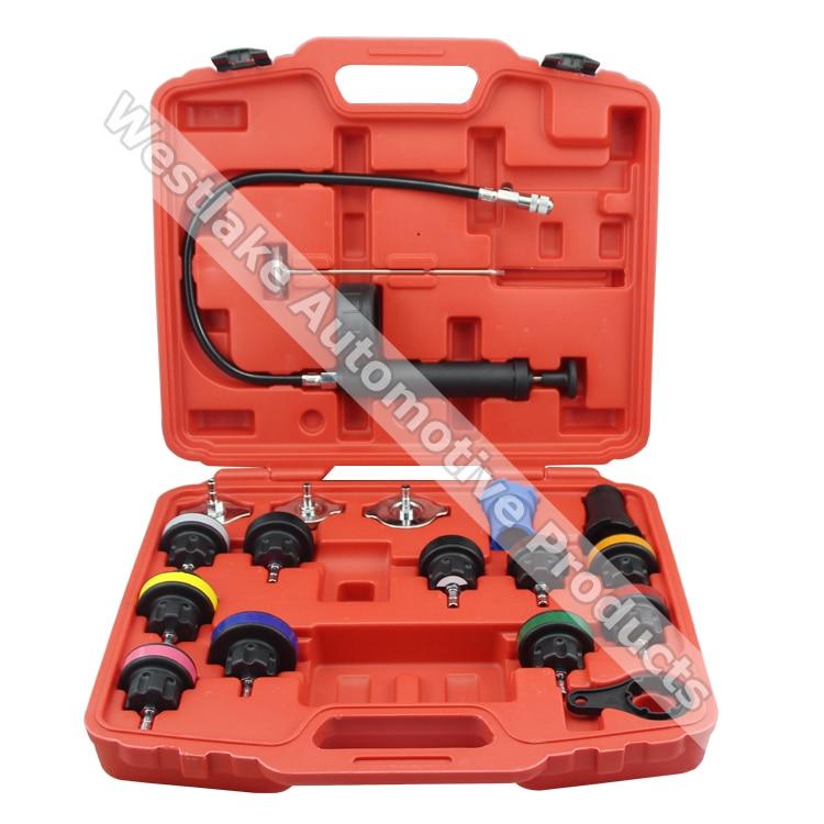 ФОТО 18pcs Universal Radiator Pressure Tester Tool Kit  Cooling System Testing Tool Water Tank Leakage Detector Nylon Material