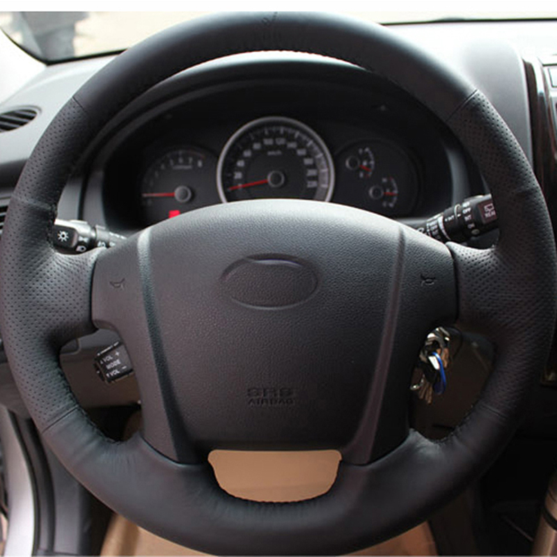 Free Shipping High Quality cowhide Top Layer Leather handmade Sewing Steering wheel covers protect For KIA Sportage
