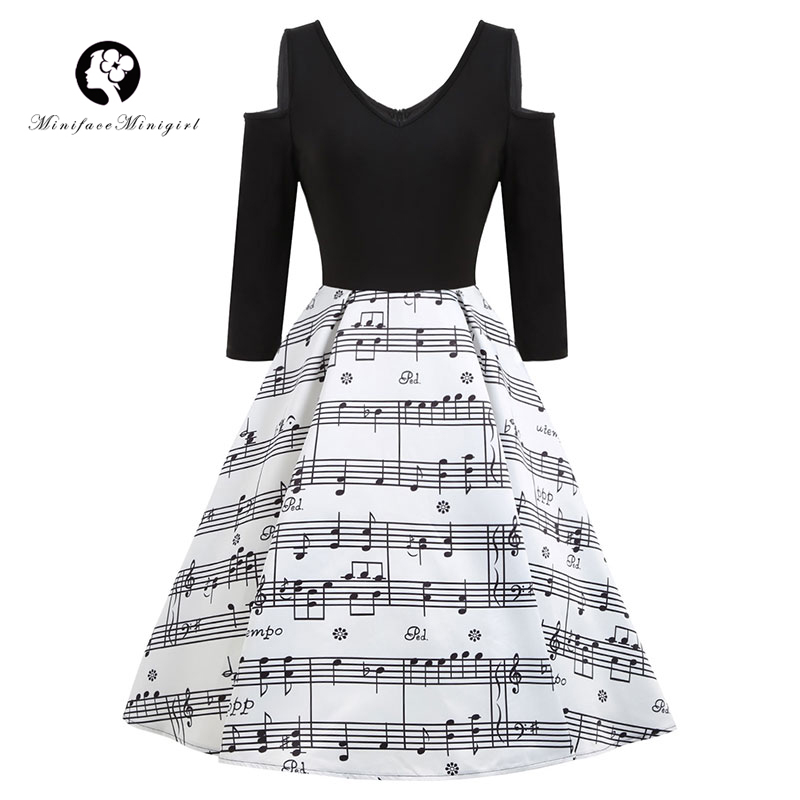 Black Musical Notes Dress Women 2018 Spring New Long Sleeve Print Rockabilly Retro Female Vintage vestidos