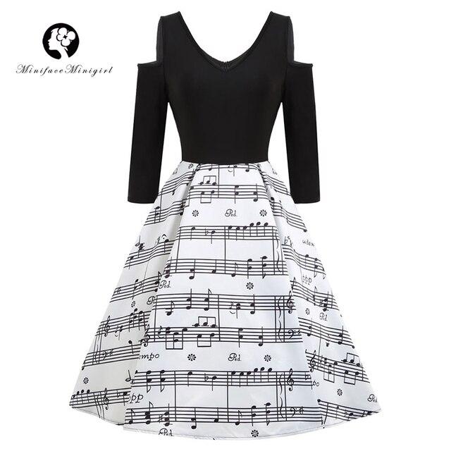 cf749687d1e Black Musical Notes Dress Women 2018 Spring New Long Sleeve Print Rockabilly  Retro Female Vintage vestidos Elegant Party Dresses