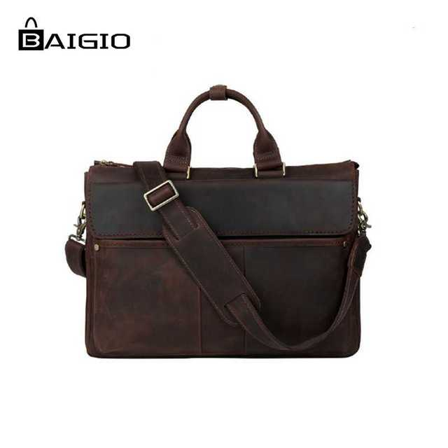 Baigio Men Laptop Bag 16 Leather Briefcase Vintage Style Italian Designer Messenger Bags Large