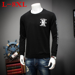 2018 плюс размер 8XL весна осень классическая мужская футболка с круглым воротником Повседневная мужская футболка с длинным рукавом высокое к...