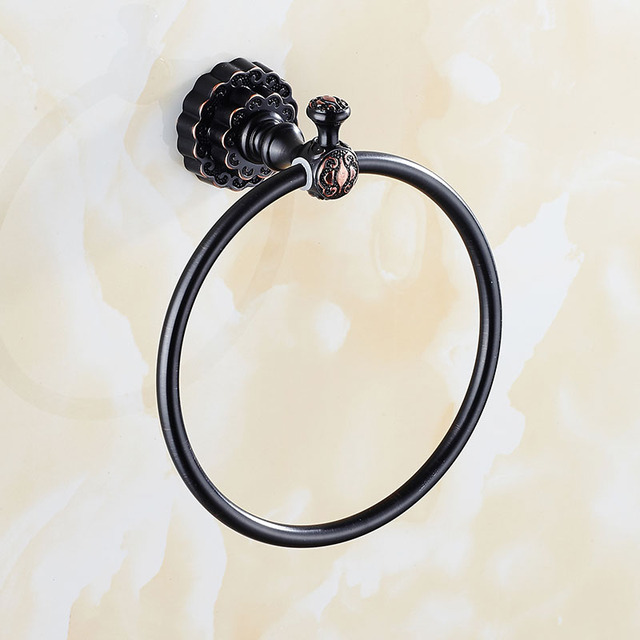 Carving Wall Mounted ORB Black Antique Towel Ring Unique Design Bathroom  Bath Towel Rack Free Shipping