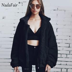 Image 3 - Nadafair Teddy Coat Women Fluffy Jacket Autumn Zipper Plush Thick Casual Plus Size Lamb Winter Faux Fur Coat Female Overcoat