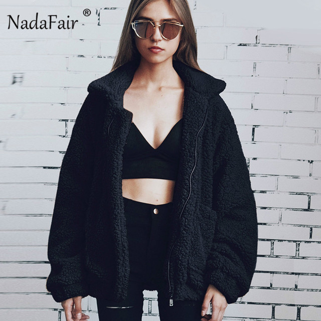 4dbf837da50 Nadafair plus size fleece faux shearling fur jacket coat women autumn  winter plush warm thick teddy coat female casual overcoat. Previous  Next
