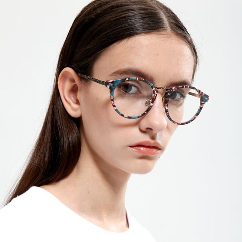 YOOSKE Retro Round Eyeglasses Women Fashion Flower Frame Glasses Men 2019 Vintage Clear Lens Glasses Optical Spectacle Frames