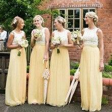 Murah Panjang Chiffon Bridesmaid Gaun Pesta Elegan Kuning Muda Tanpa Lengan  Robe De Soiree Wanita Women cc1bfb6f972d