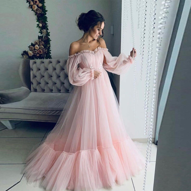 LORIE Blue Prom Dresses Long Sleeve Off the Shoulder Princess Dress 2020 Tulle Lace-up Formal Evening Party Dresses Plus Size 4