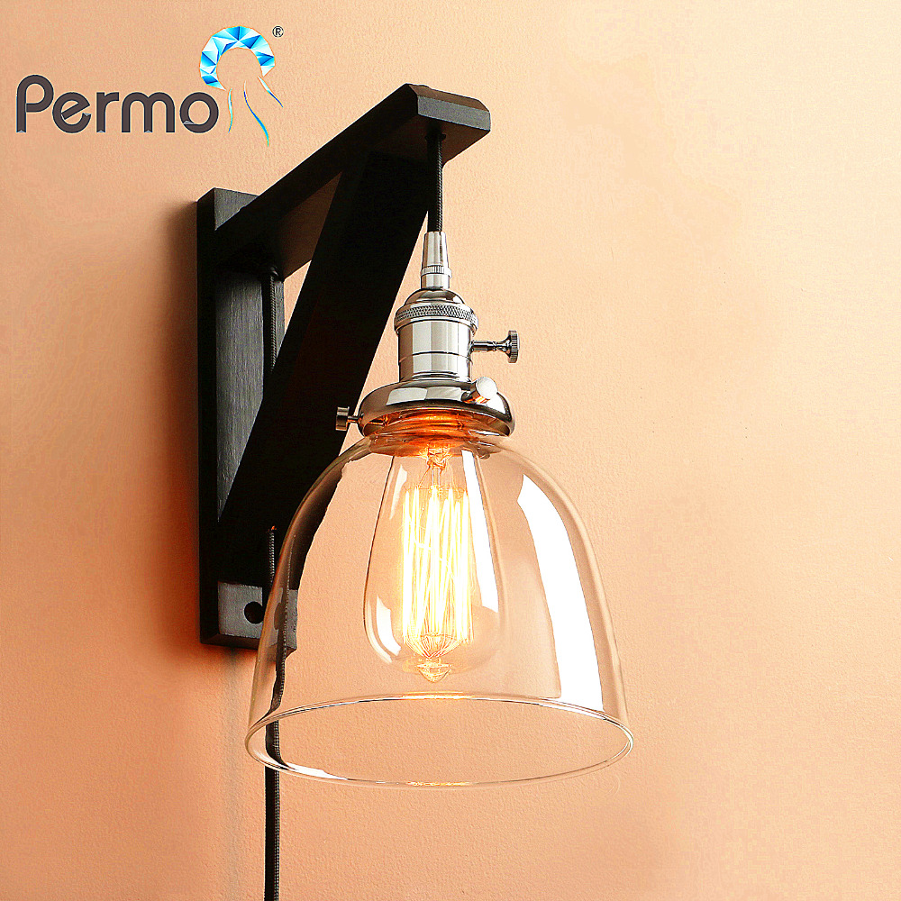 Modern Handmade Wooden Hook Wall Sconce Light Vintage Bowl Glass Wall Lamp With Wood Stand Lights Fixture Home Decorations