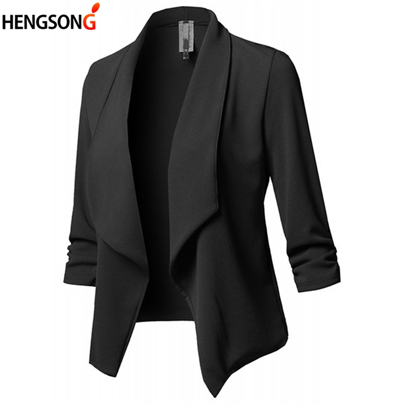 Blazer Feminino Autumn Blazer Jacket Fashion Pleated Lapel Work Office Lady Suit Long Sleeve Casual Cardigan Tops Women