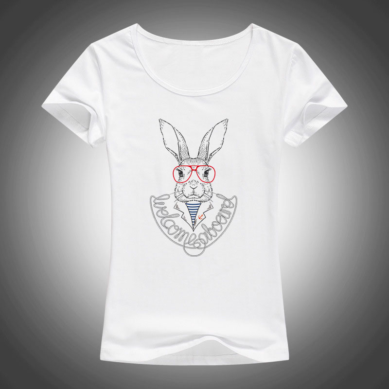 Fashion tops tees 2017 new summer style women rabbit with glasses printed T shirt Animal Glasses Rabbit short sleeve t shirts F8