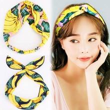Fashion 1PC Fruit Leaves Yellow Cloth Hairbands for Women Elastic Headwear Girls Hair Accessories