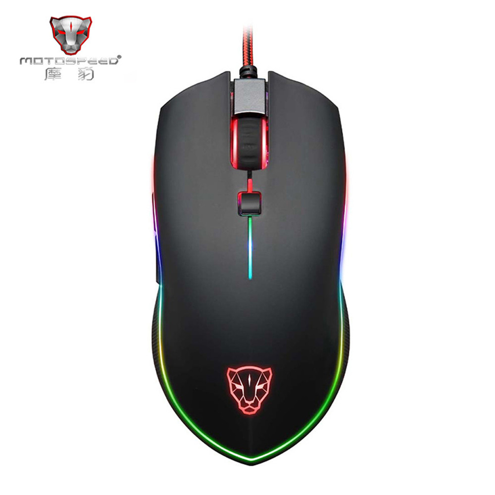 Motospeed V40 USB Wired Gaming Mouse 6 Button Optical RGB LED Mouse Gamer 4000 DPI With Mouse Pad For PC Desktop Computer Game