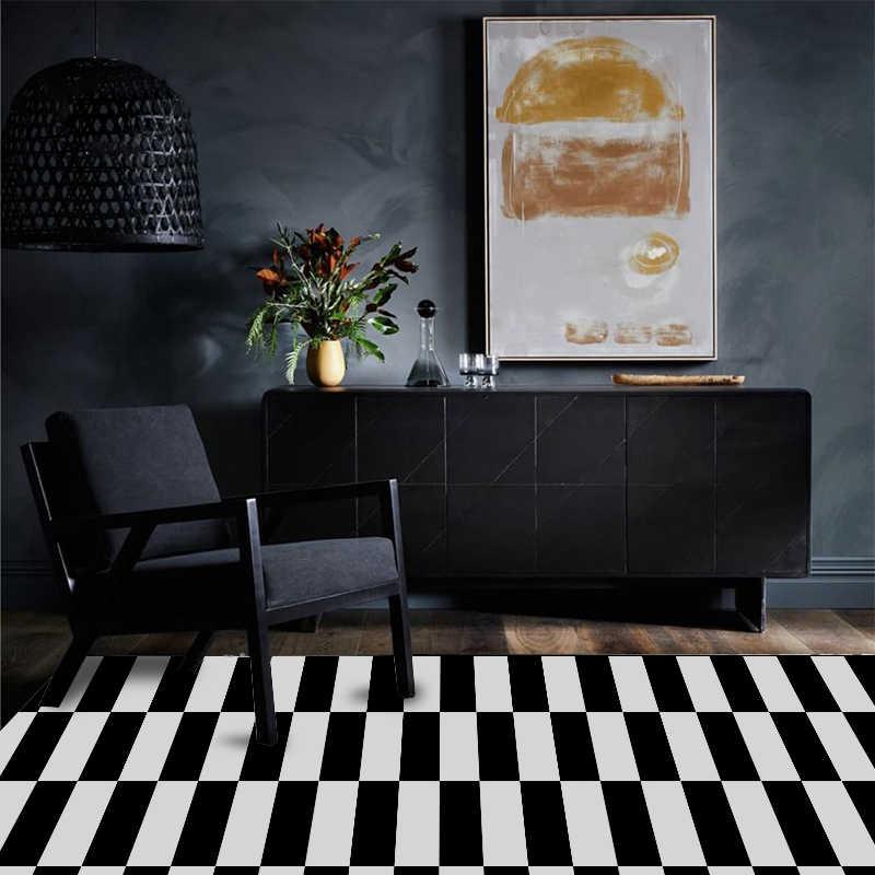 Alfombra Decorativa Para Sala De Estar Alfombra A Rayas Estilo Moderno Blanco Y Negro Alfombra Aliexpress