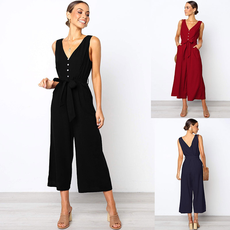 2019 sexy Deep V-neck women   jumpsuit   Elegant Button spring Summer long Tank romper Playsuit wide leg casual streetwear   jumpsuits