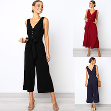 2019 sexy Deep V-neck women jumpsuit Elegant Button spring Summer long Tank romper Playsuit wide leg casual streetwear jumpsuits belt bag canvas large capacity wasit pack high quality waist bag mobile phone pouch fashion fanny pack for women men sling bag