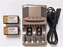 NUEVO cargador! Powerfu 2000 mah 9 V recargable NiMH, 2 unids 9 v batería recargable + 1 unids Universal 9 v aa aaa cargador de batería