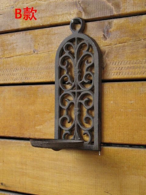 Vintage Cast Wrought Iron Wall Sconce Oil Lamp Candle Plant Holders Victorian Wedding Home