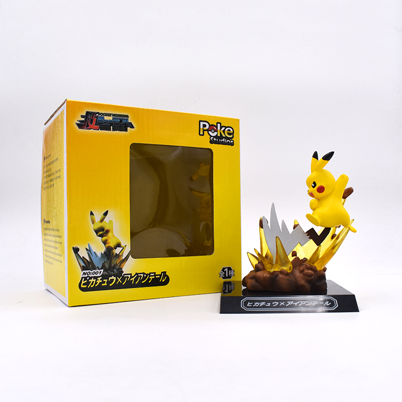 Pikachu Anime Figurines Electric Shock Pikachu Action toy Figures Scene Model Brinquedos Kids Toys For Boys Birthday Gift lucario articuno mewtwo charizard pikachu anime cartoon action toy figures collection model toy car decoration toys pokemones